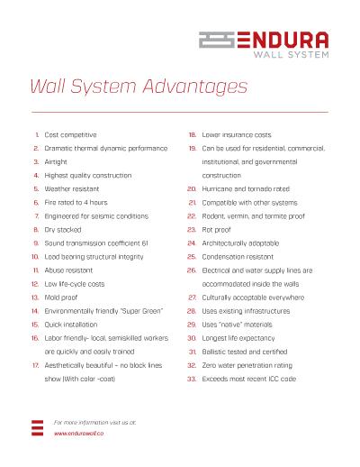 Endura Wall System Advantages PDF