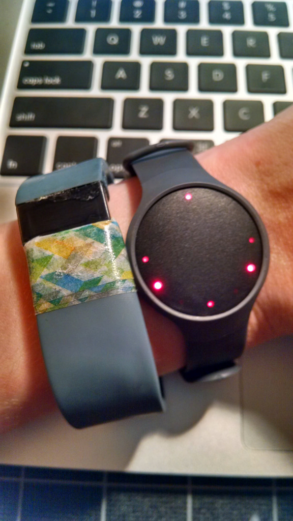 Frances device testing a misfit with a battered fitbit force
