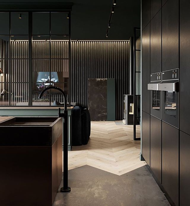 Obsessed w/ this floor detailing & matte black millwork 🙌🏼 . . . . #interiordesign #interiordecor #matteblack #contemporary #contemporarykitchen #kitchendesign #hardwood #herringbone #instadesign #instastyle