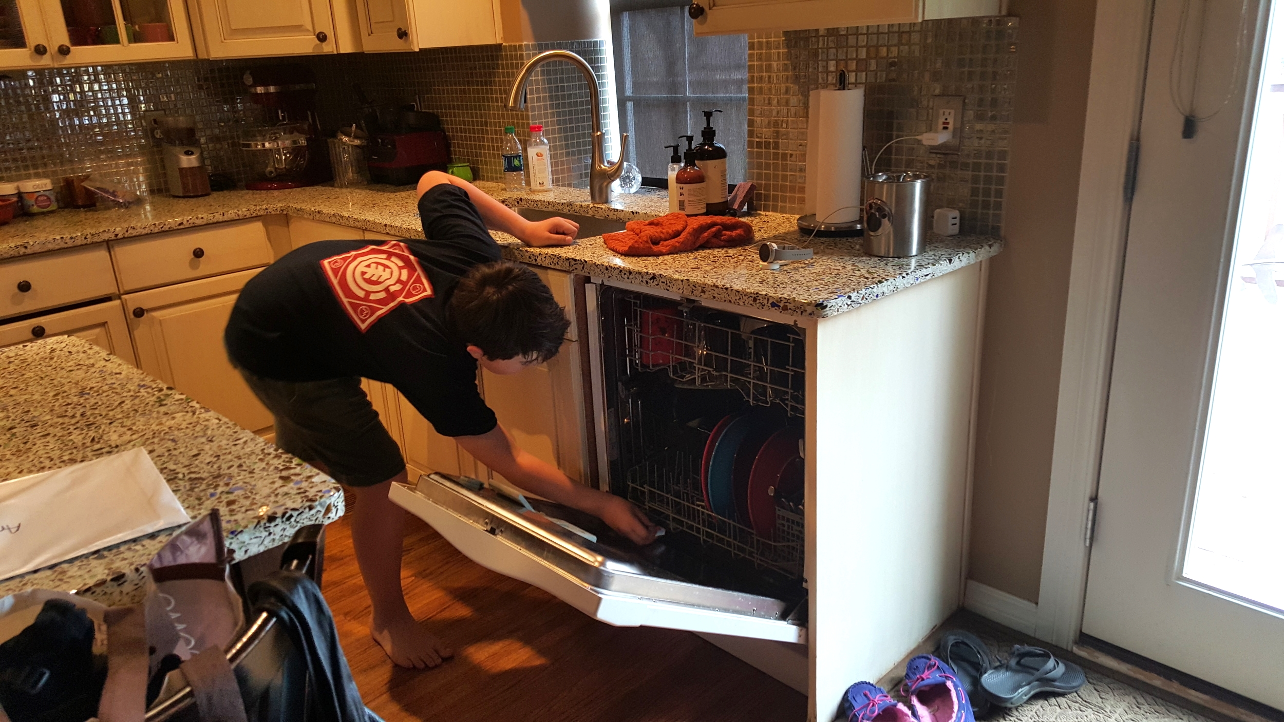 The boys pitched in on keeping the dishes in check during my two-week break from cleaning house!