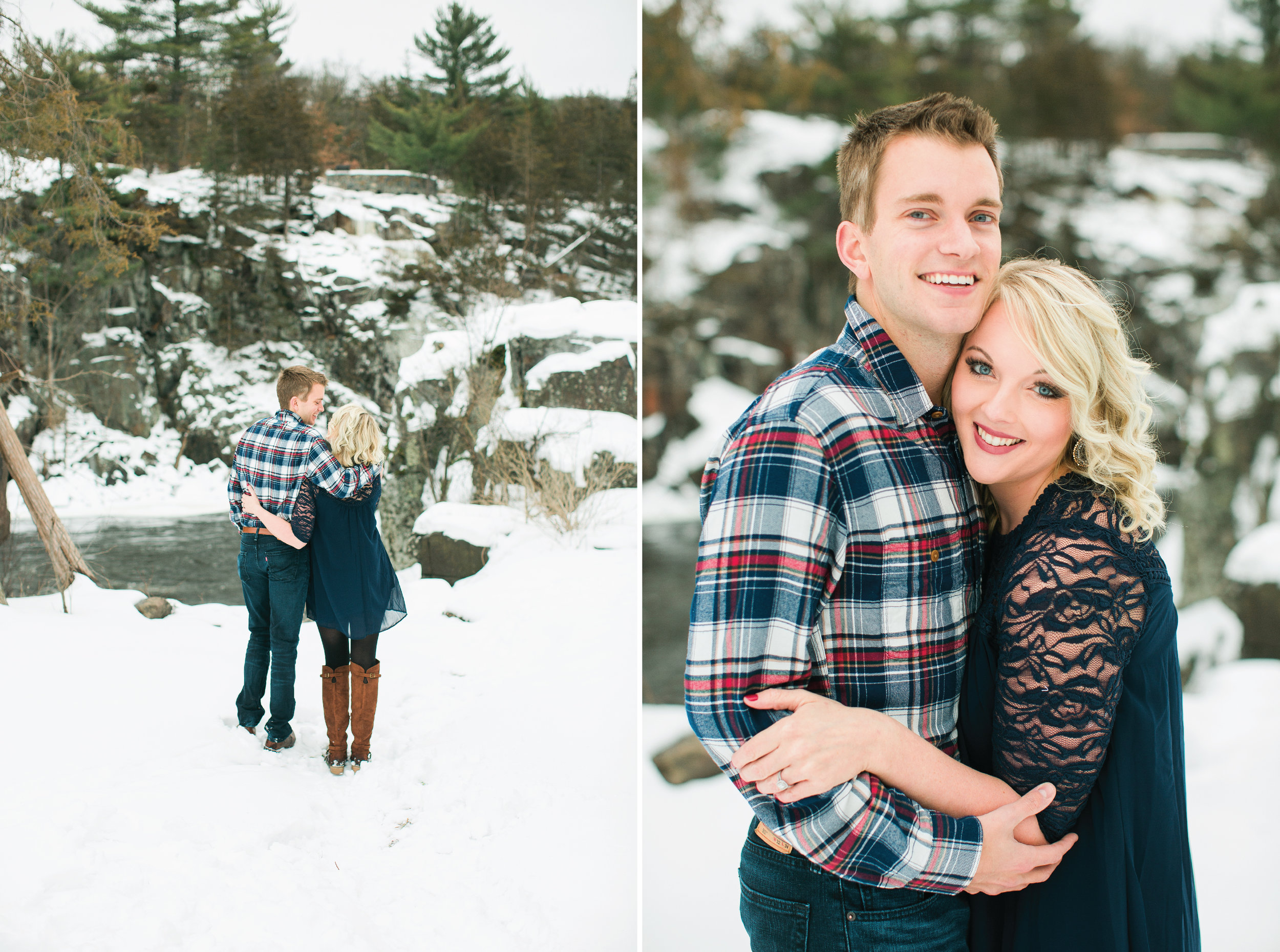 Minnesota snowy winter engagement photos in Taylors Falls Minnesota smiling and joyfully enjoying the scenery