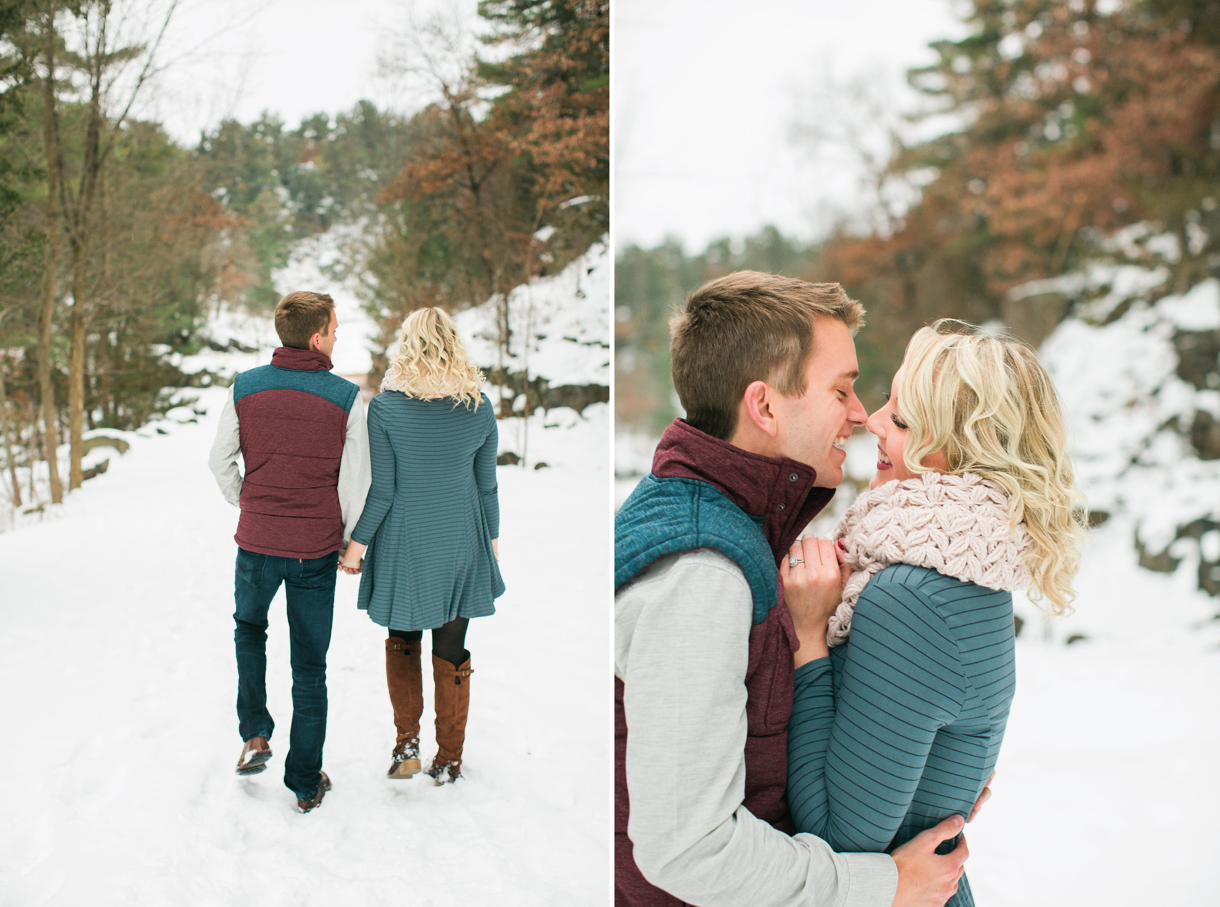 Minnesota snowy winter engagement photos in Taylors Falls woods walking and snuggling