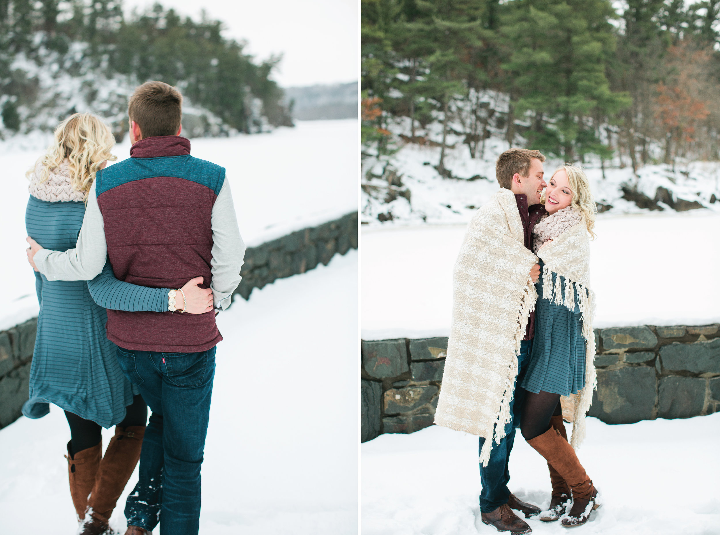 Taylors Falls Minnesota snowy winter engagement session couple with blanket wrapped around them