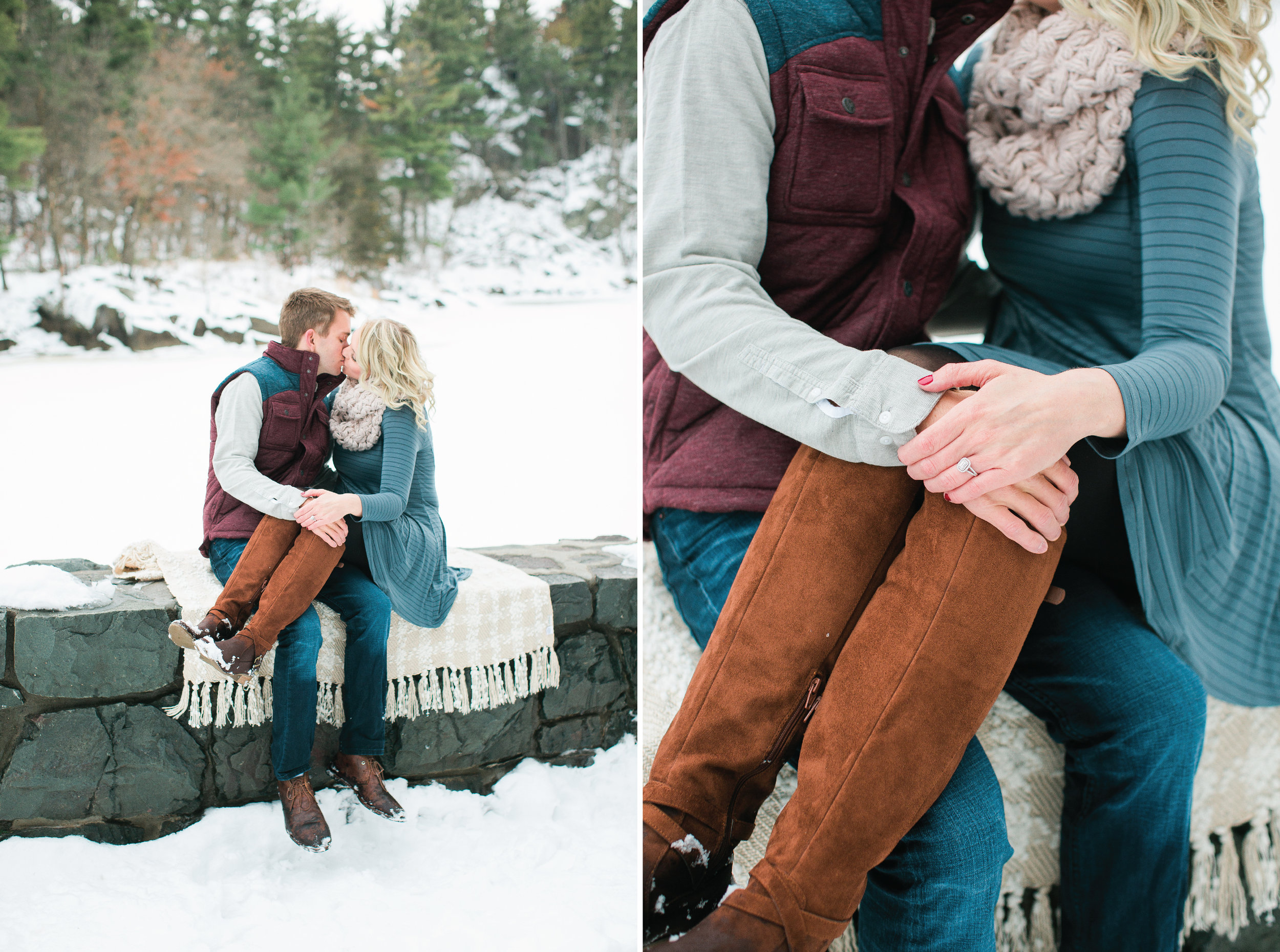Taylors Falls Minnesota snowy winter engagement session with couple sitting