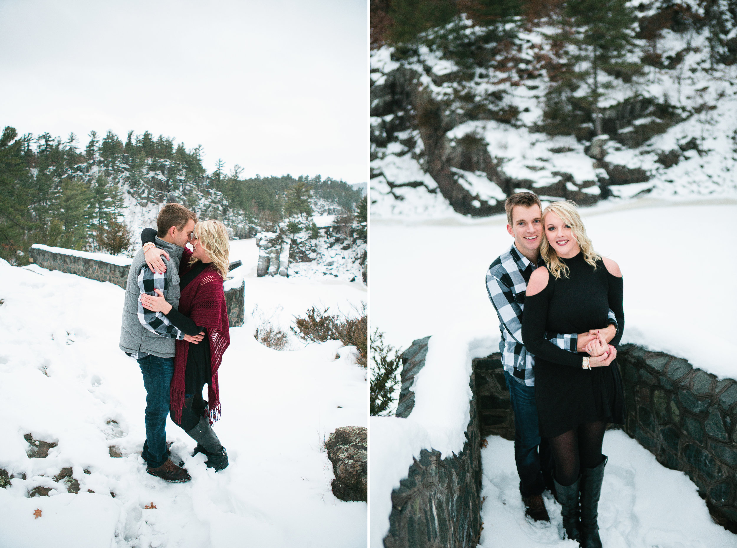 Snowy Minnesota Taylors Falls winter engagement photos on bluff overlooking river and woods