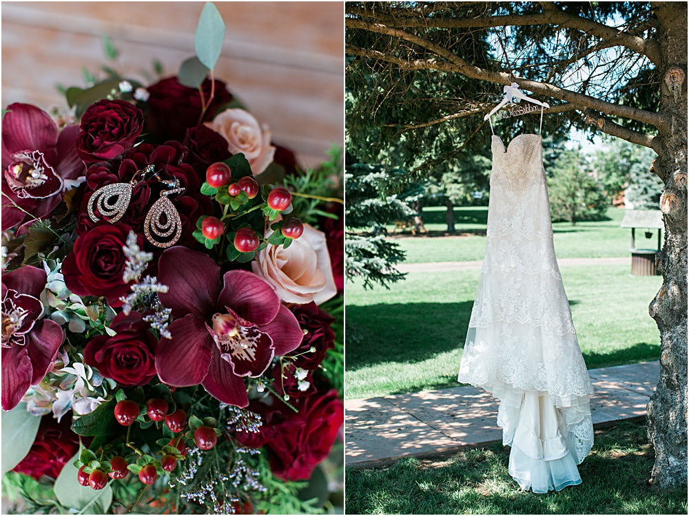 Minnesota summer wedding dress hanging in tree and burgundy wine bride bouquet