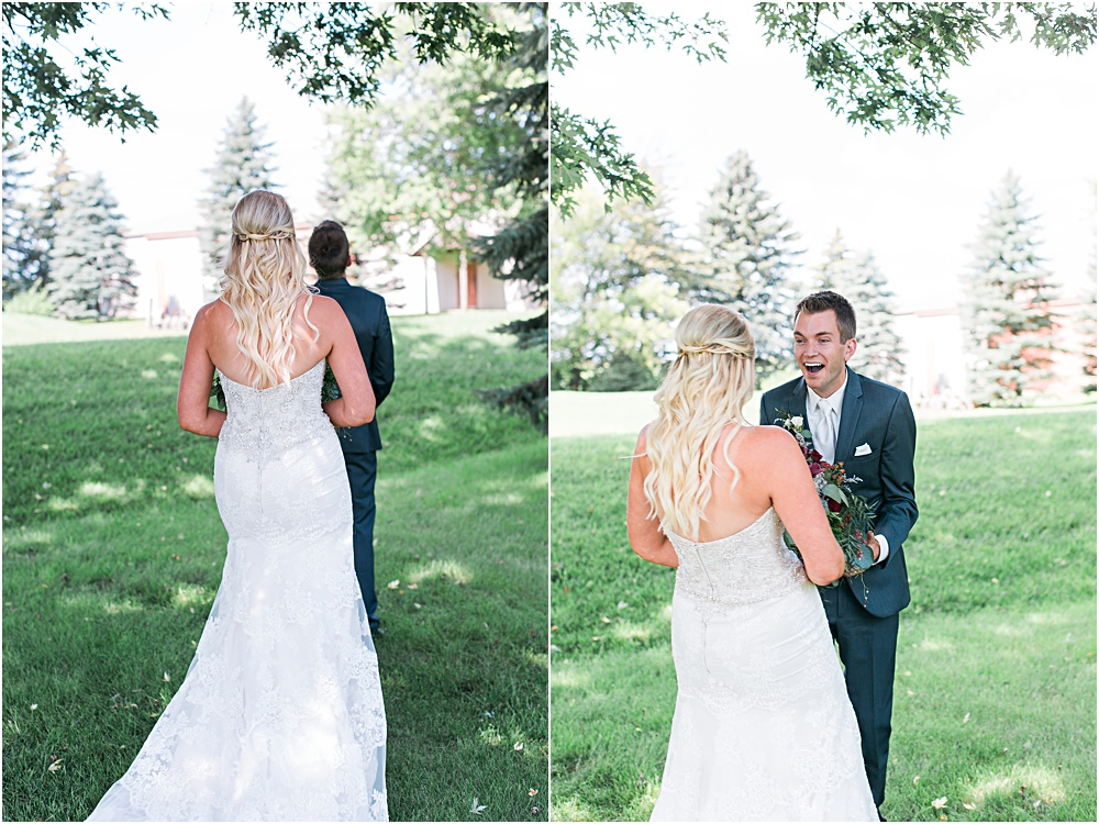 Minnesota summer wedding first look outside with bride and groom touching reactions