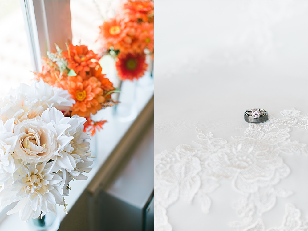 Wedding day details of flowers and ring at Minnesota summer wedding