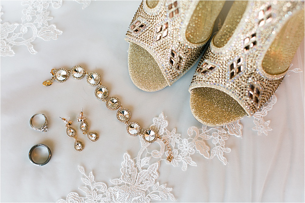Beautiful bridal details of shoes, jewelry and rings at Minnesota summer wedding