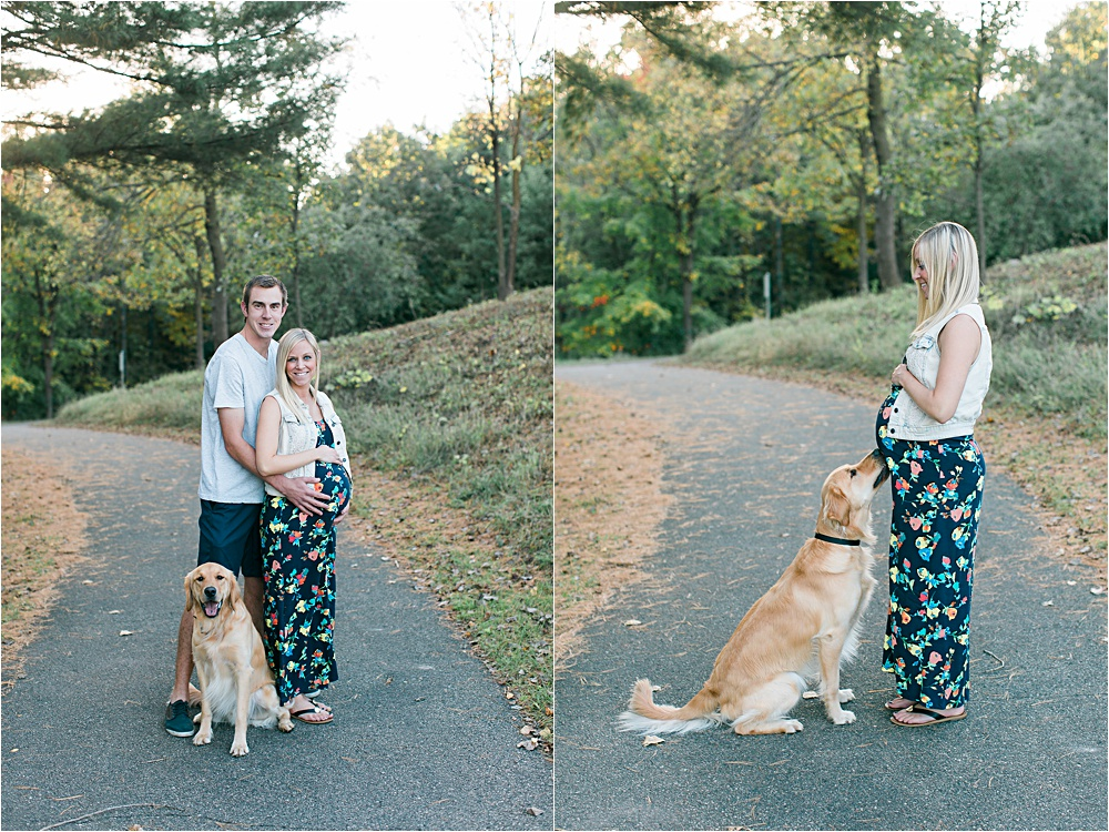 Couple and dog for Minnesota fall maternity photos