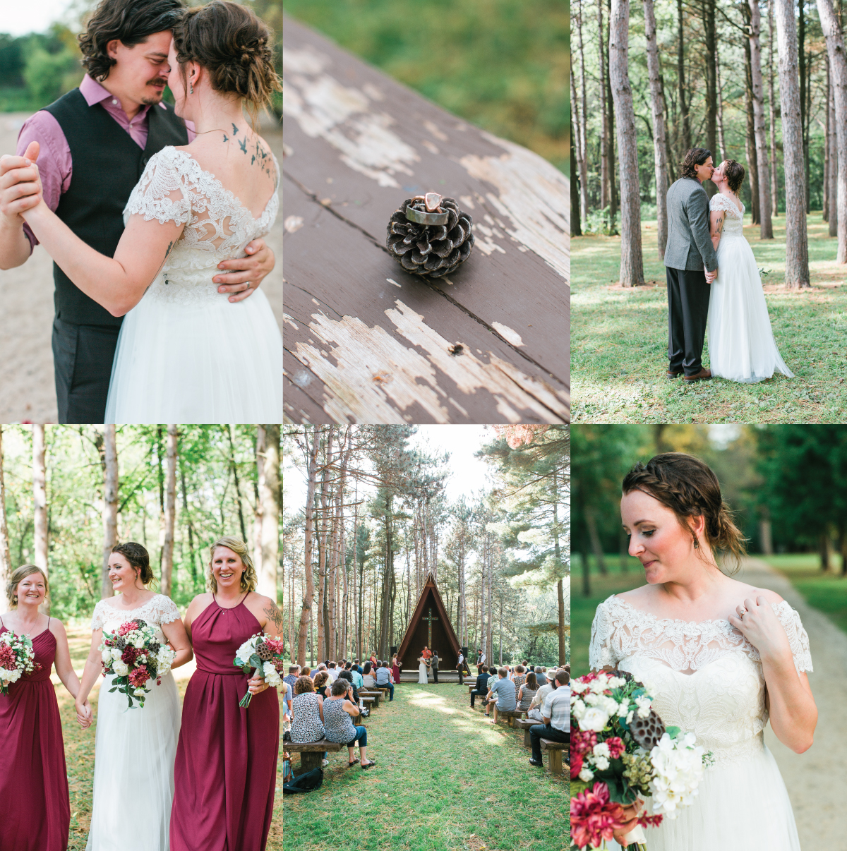 Rustic outdoor woodsy wedding in Lake City Minnesota