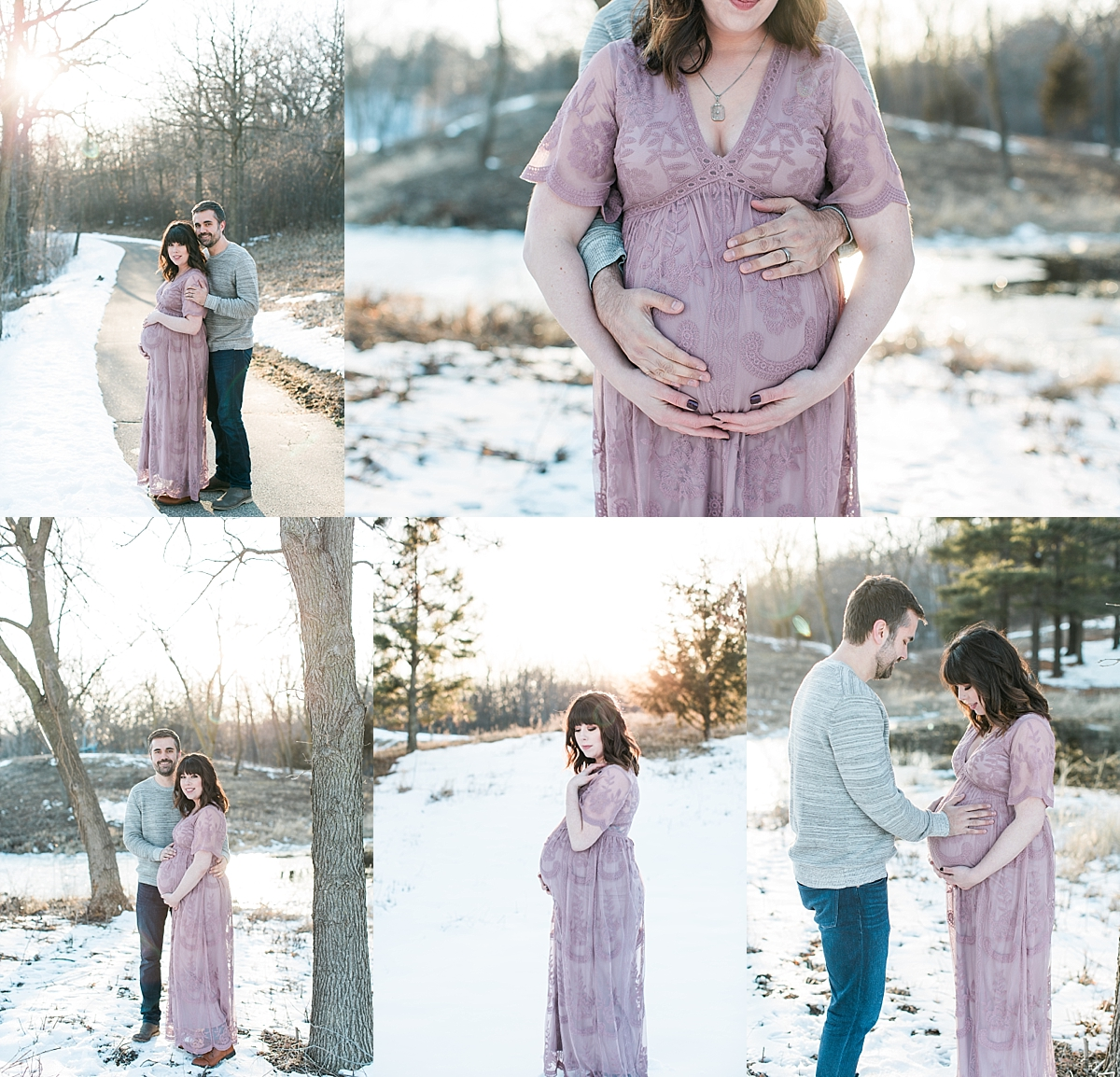 Maternity photography session with mom in pink lace dress and dad during winter at sunset Minnesota maternity photographer Mallory Kiesow Photography