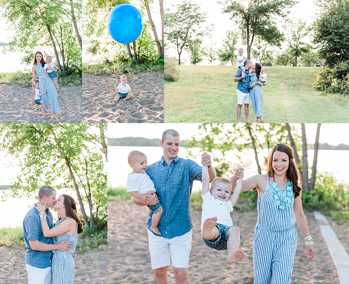 Summer family session with mom, dad, toddler and baby turning one with blue balloon on beach lakeside Minnesota family photographer Mallory Kiesow Photography
