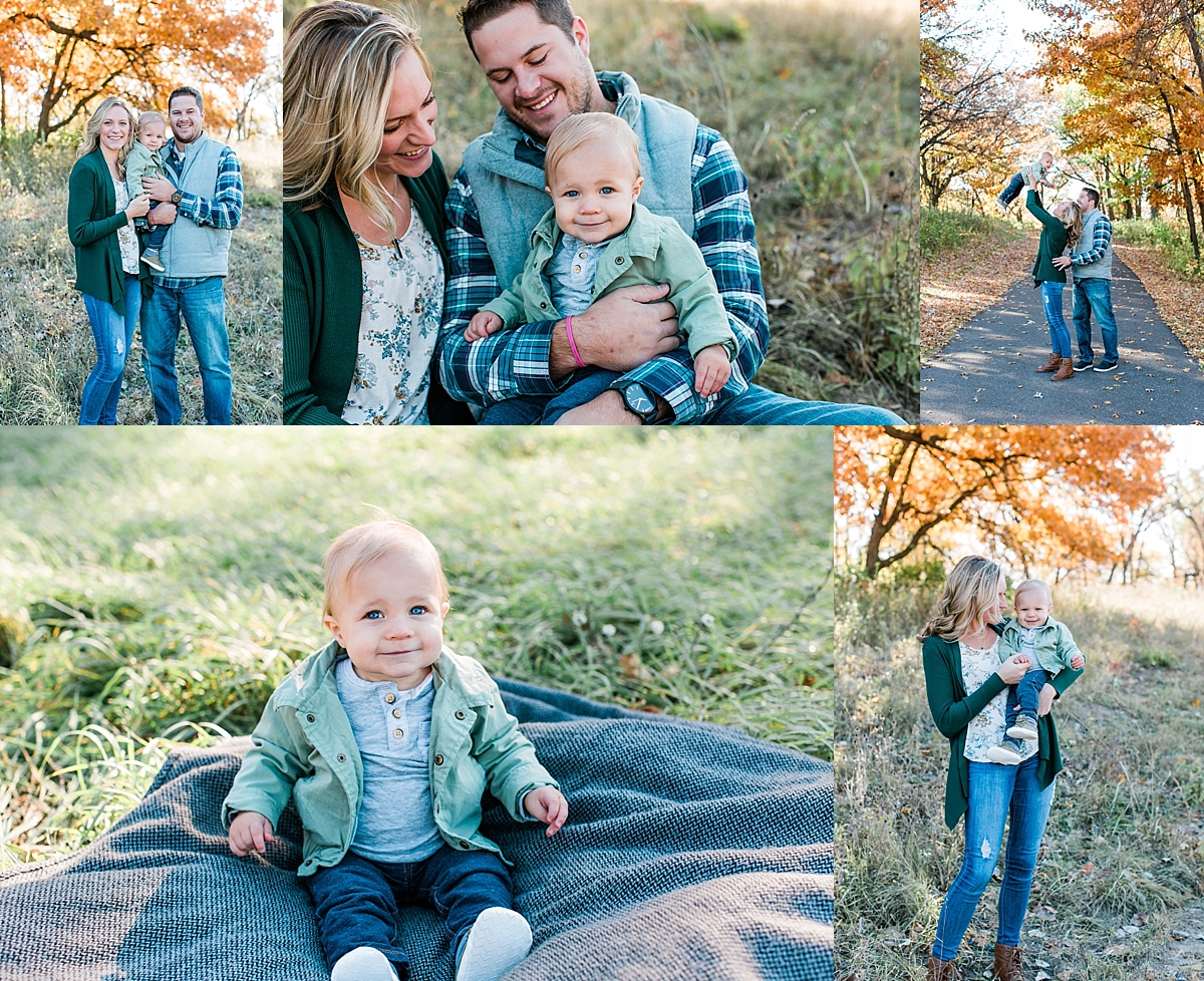 Family photography session with mom dad and blonde baby boy in Minnesota fall Minnesota family photographer Mallory Kiesow Photography