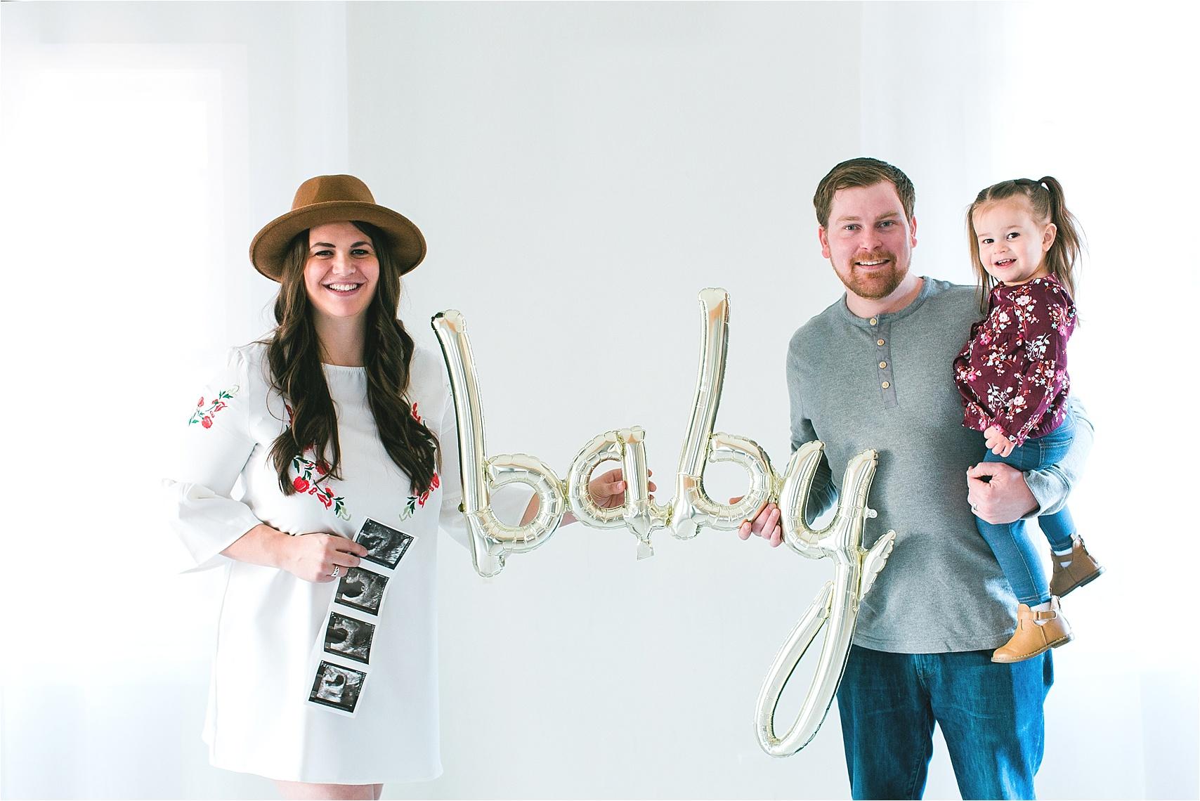 Pregnancy announcement for second child Minnesota photographer