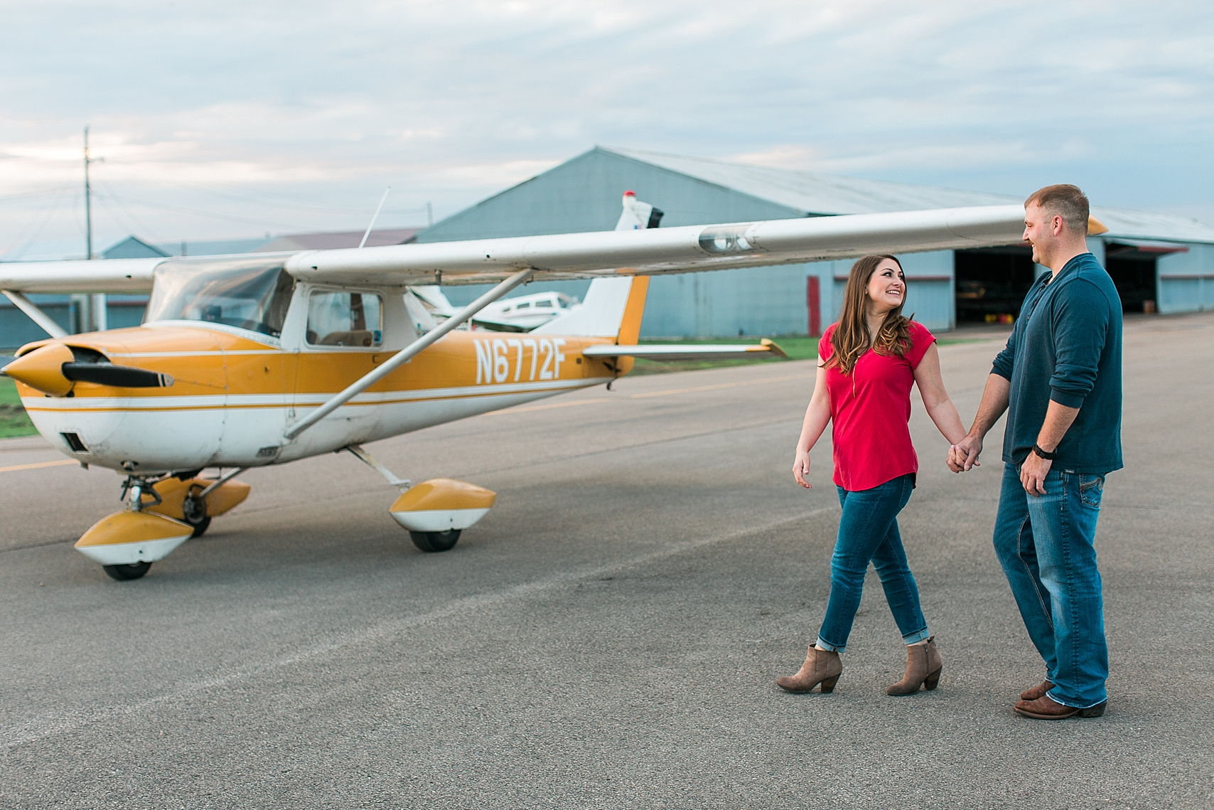 Minnesota airplane engagement session flying cloud airport