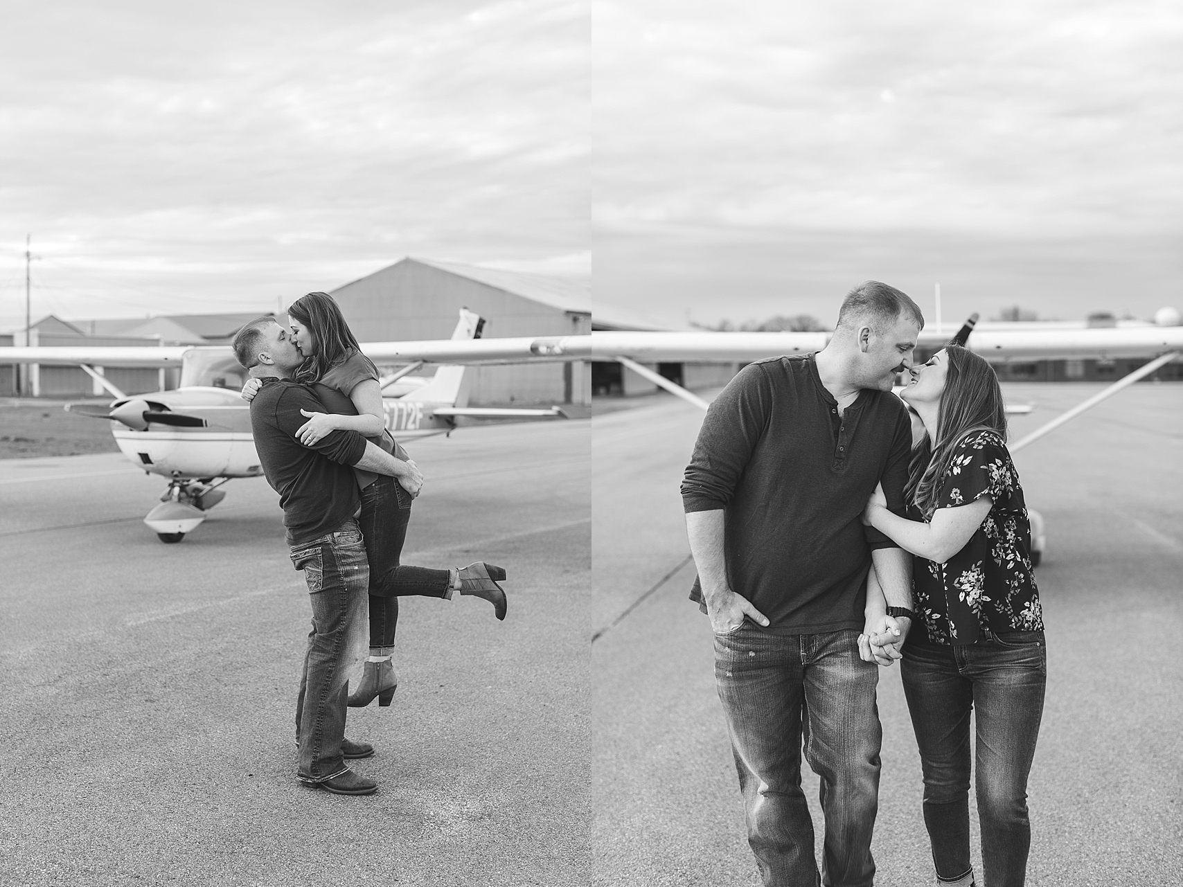 Minnesota airplane engagement session flying cloud airport black and white couple walking