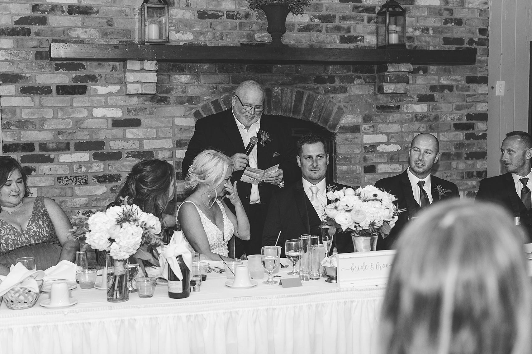 Father of the bride speech at the Chart House Summer Wedding Lakeville Minnesota Minneapolis Wedding Photographer Mallory Kiesow
