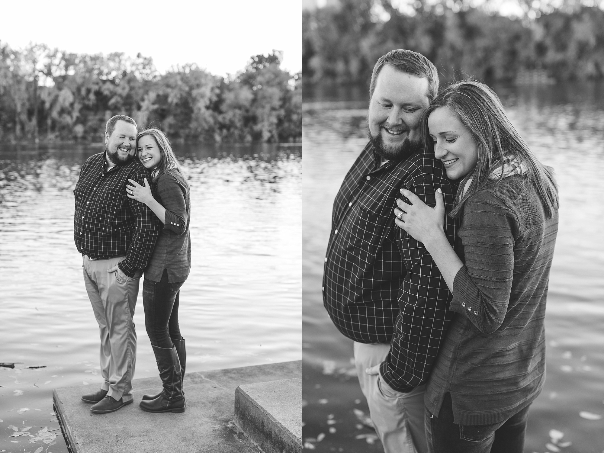 Engaged couple embracing in black and white photographs along riverside in Minneapolis at Boom Island Park in Minneapolis Mallory Kiesow Photography