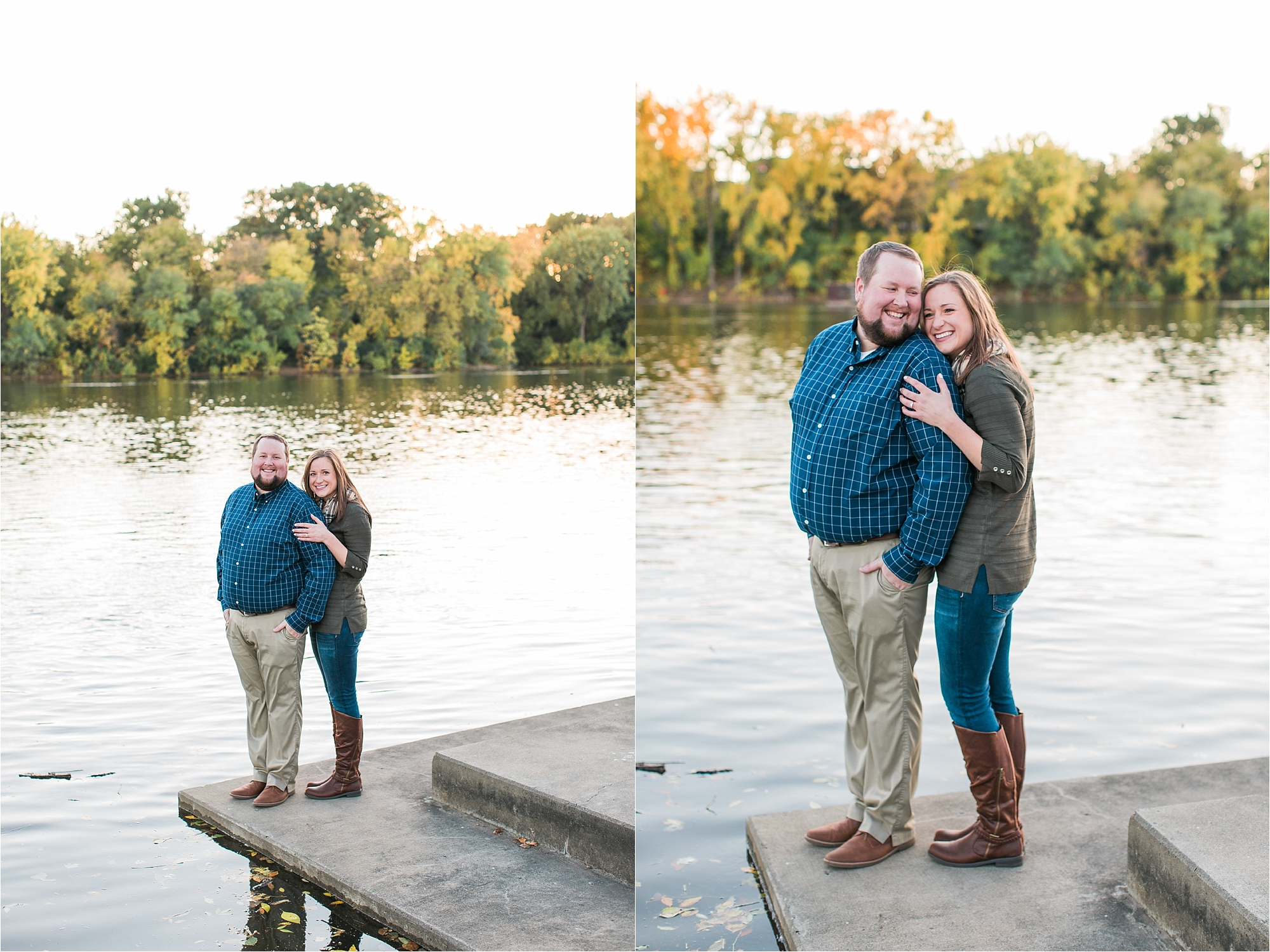 Engaged couple embracing in front of water with Minneapolis city skyline in the background at Boom Island Park in Minneapolis Mallory Kiesow Photography