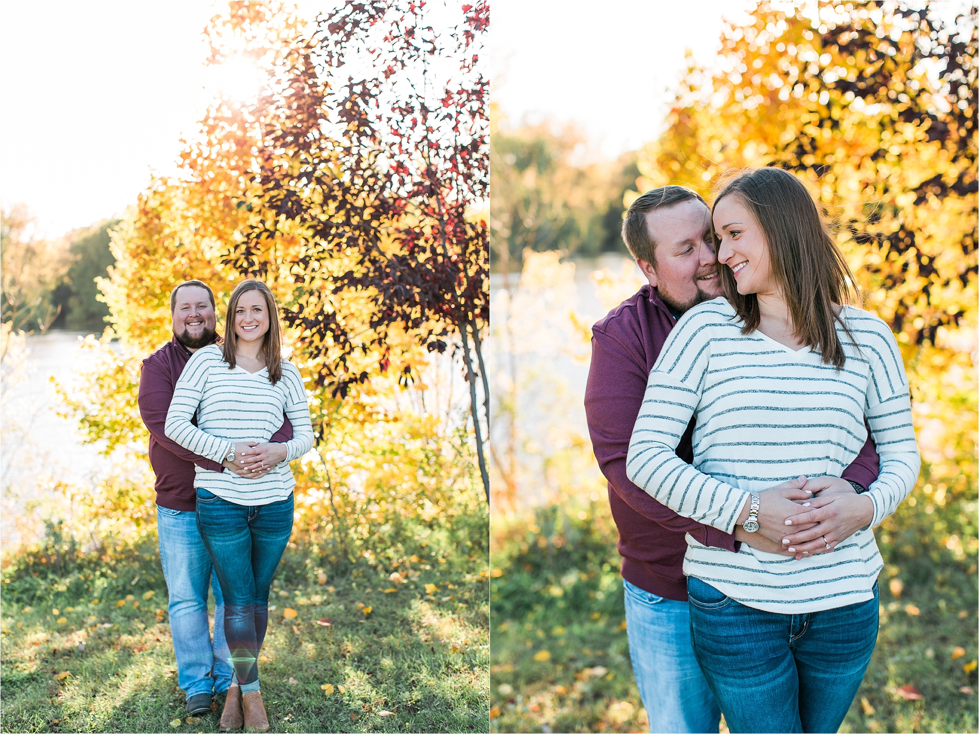 Engaged couple in Minneapolis fall engagement session in front of colorful fall trees