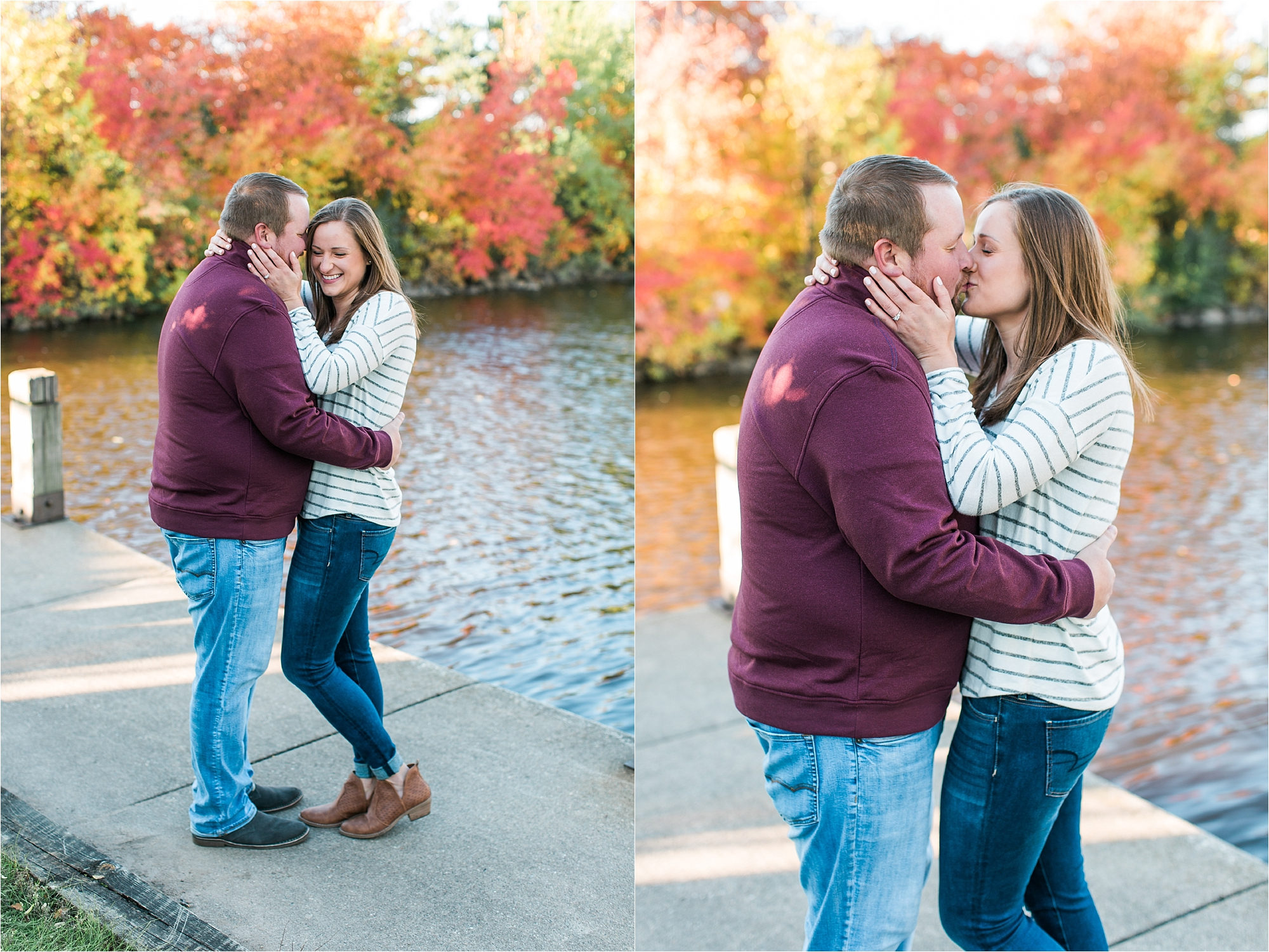 Engaged couple embracing along riverside in Minneapolis fall engagement session at Boom Island Park in Minneapolis