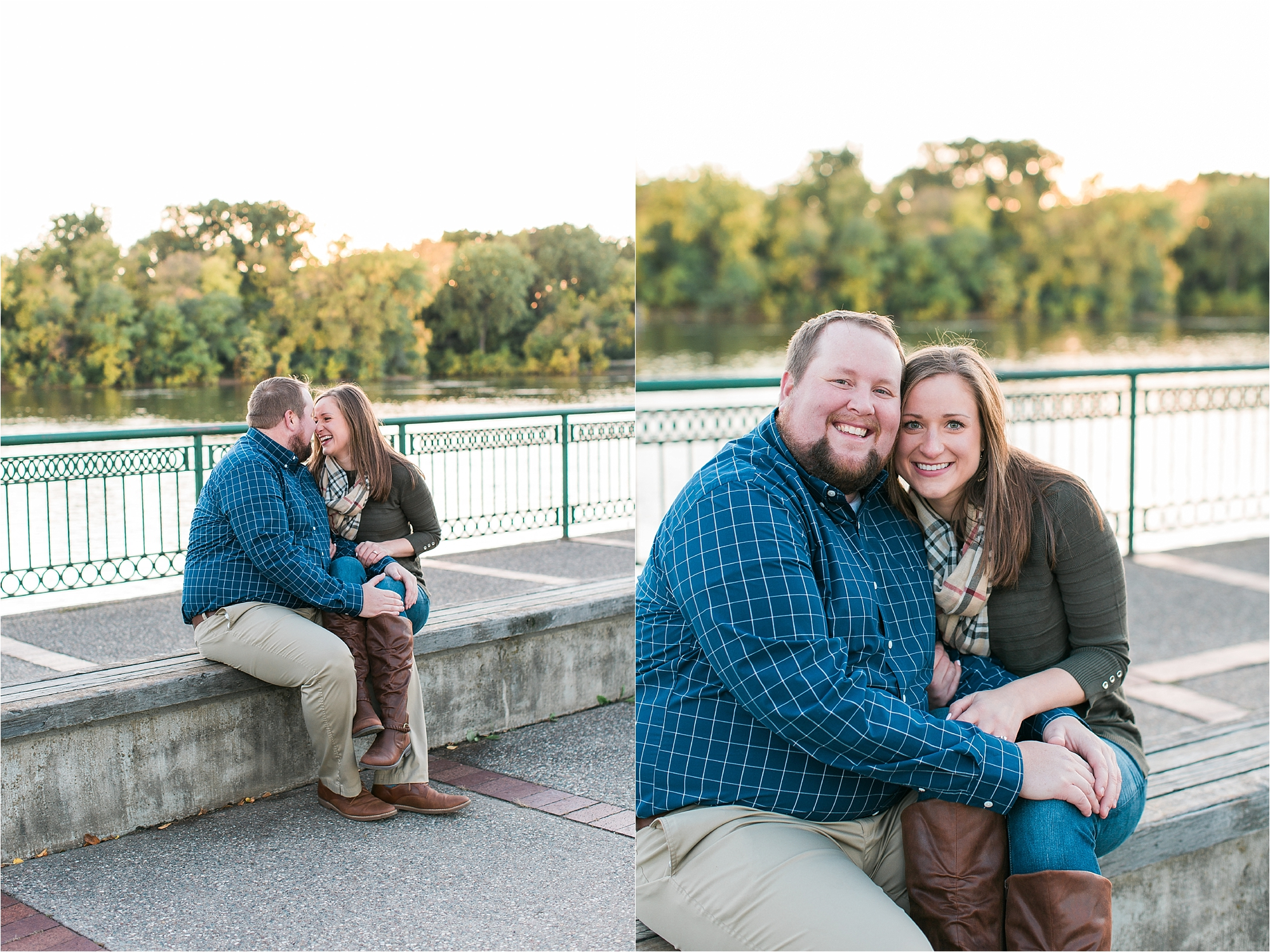 Engaged couple sitting for fall engagement session along riverside in Minneapolis at Boom Island Park in Minneapolis Mallory Kiesow Photography