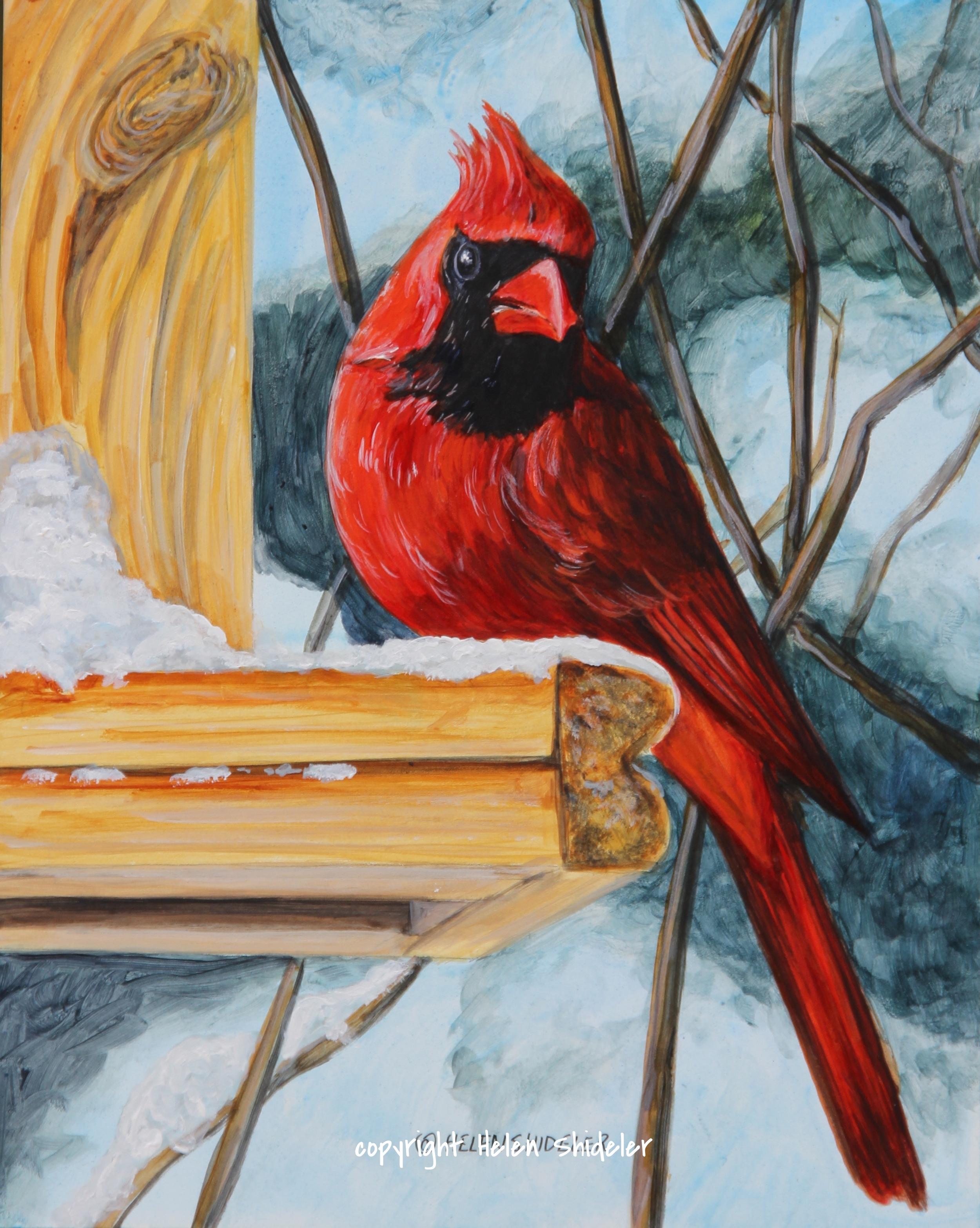 Sweet Memories cardinal painting by Helen Shideler