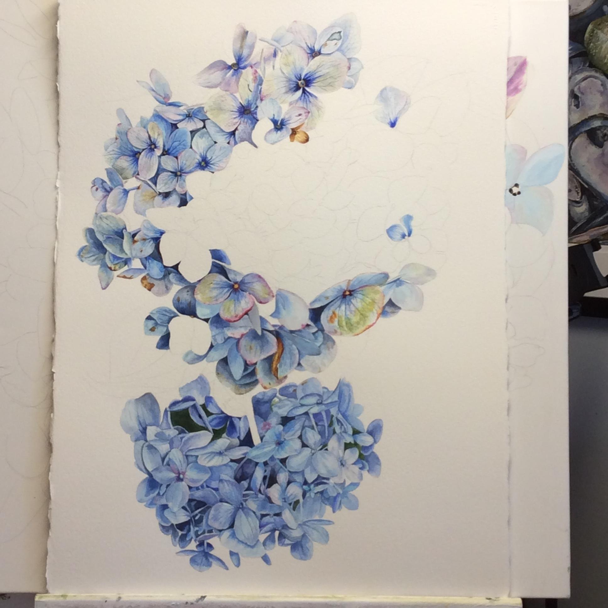 WIP Amethyst Shades of Blue by Helen Shideler