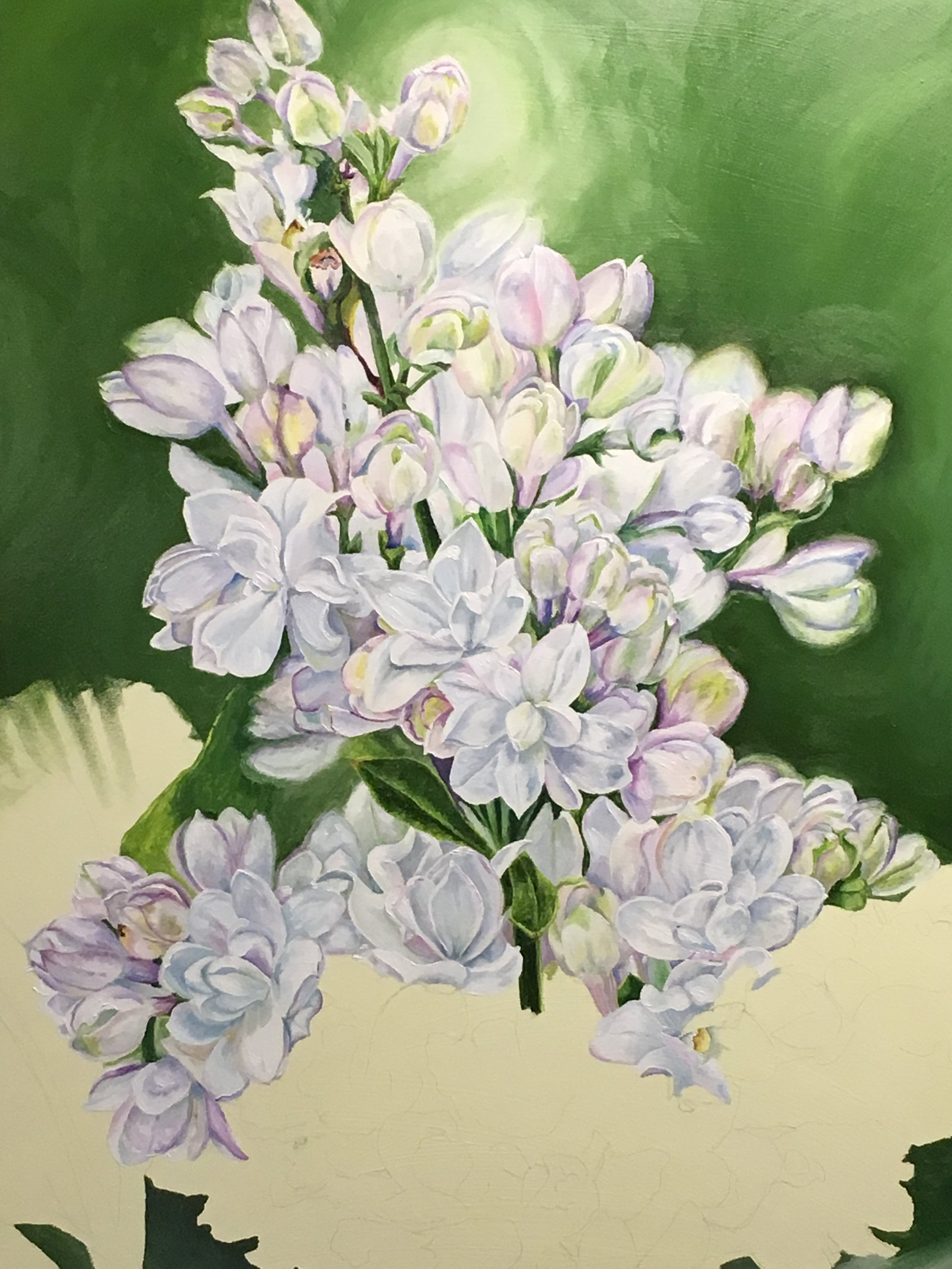 white lilac painting Spring Scentsation by Helen Shideler