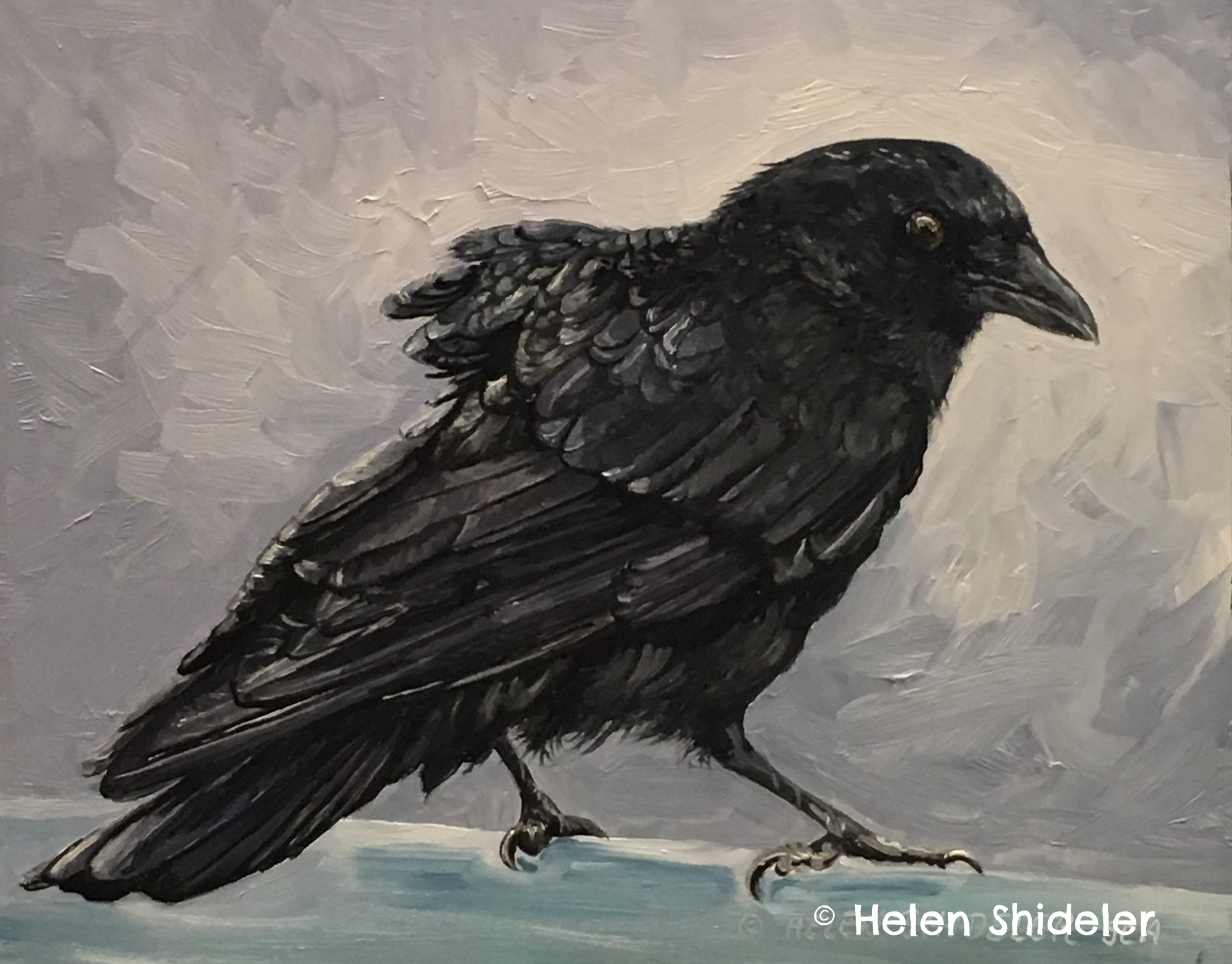 crow painting On the Fence by Helen Shideler