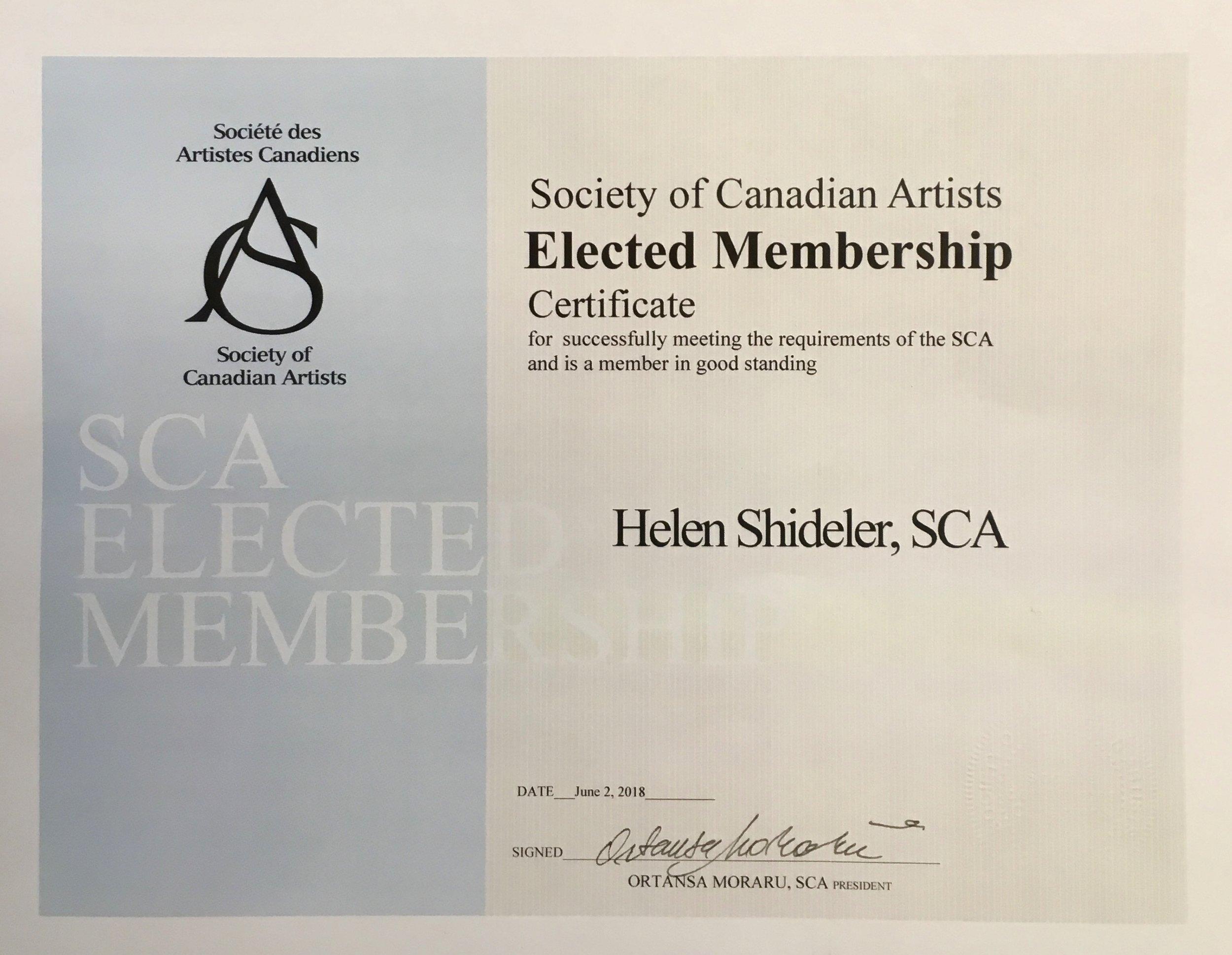 SCA Elected Membership Shideler