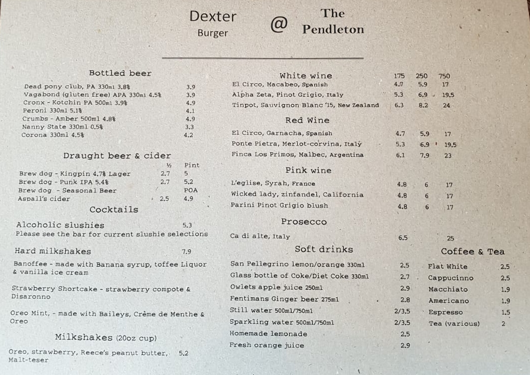 Sample menu
