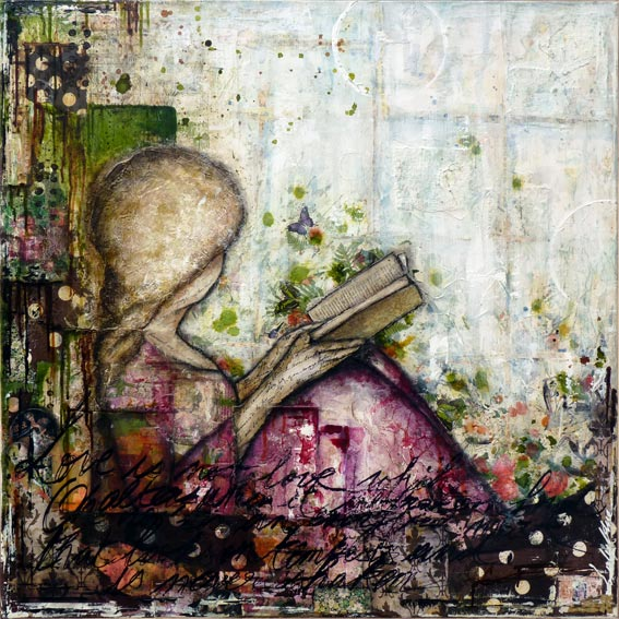 Miss Marianne: mixed media painting on canvas by Laly Mille