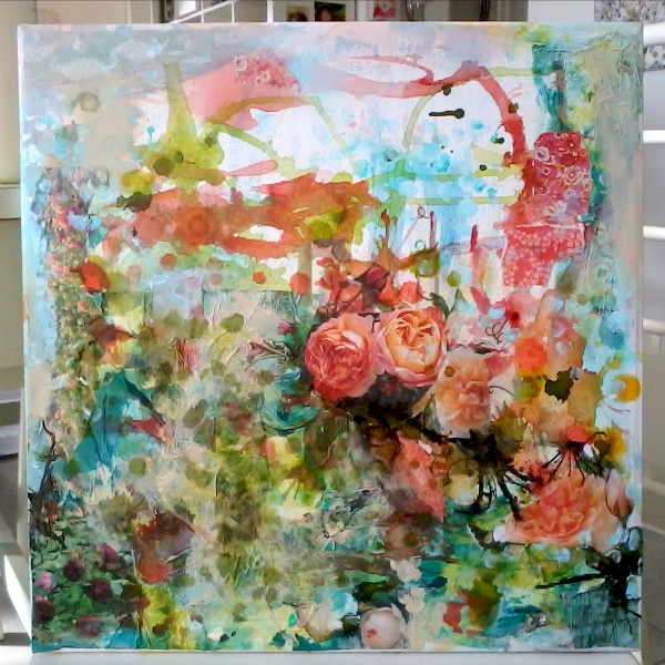 larger floral painting in progress