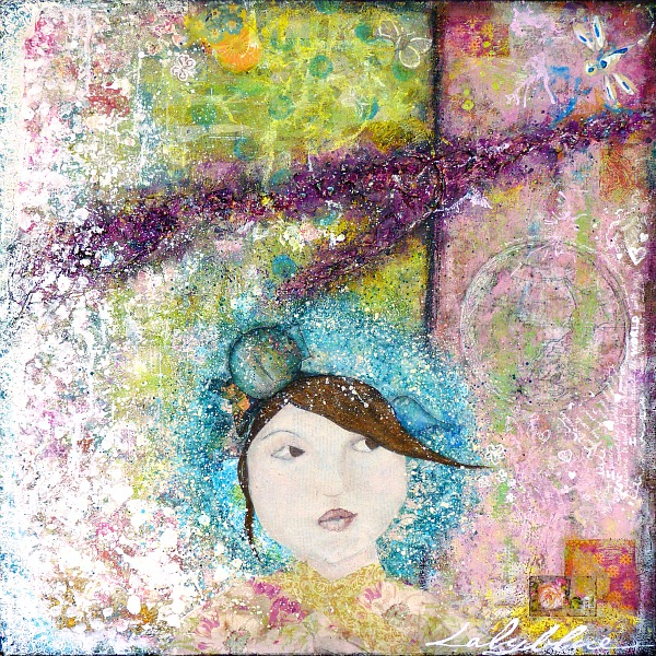 Elizabeth, Mixed media painting on canvas © 2010 Laly Mille