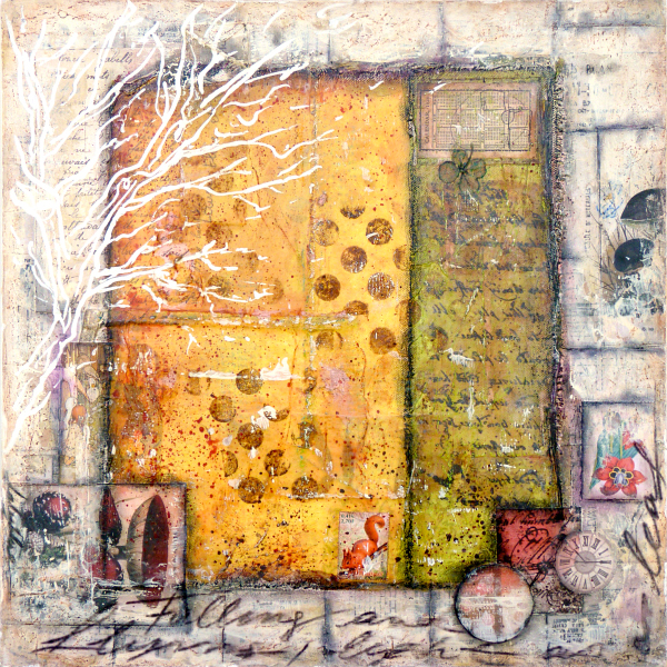 Fall, Mixed media painting sur bois © 2010 Laly Mille