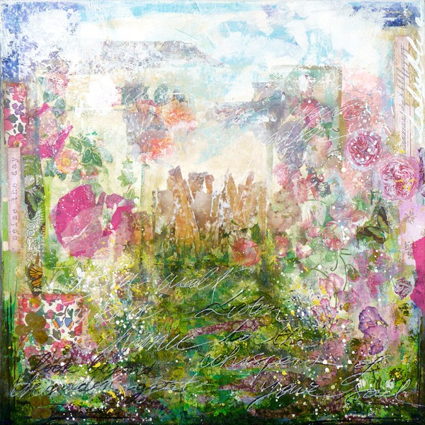 "Beyond the garden gate 50 x 50 cm - 19,7"" x 19,7"" Mixed media painting on canvas © 2011 Laly Mille"