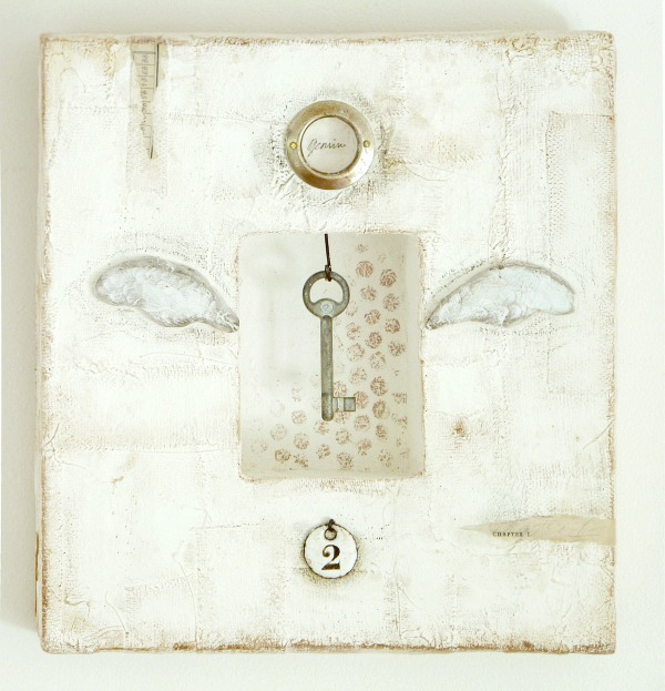 Gemini, winked key assemblage, mixed media on plaster, © 2013 Laly Mille