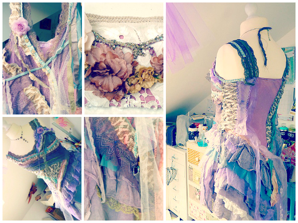 Upcycled mixed media fairy dress with lavender tutu. © 2014 Laly Mille