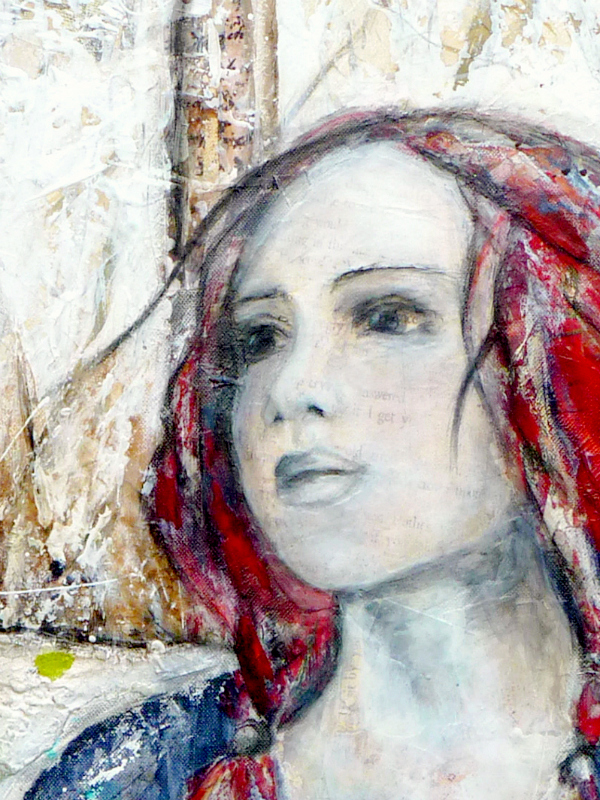 Refuge, mixed media painting, © 2012 Laly Mille