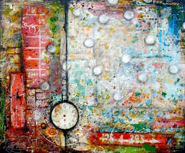 "Voyage imaginaire (Imaginary travel) Mixed media painting on canvas 25,5"" x 21"" (65 x 54 cm) © 2013 Laly Mille"