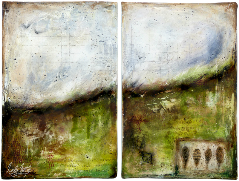 Moorland : mixed media painting by Laly Mille