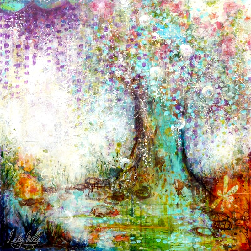 The wishing tree : mixed media painting by Laly Mille