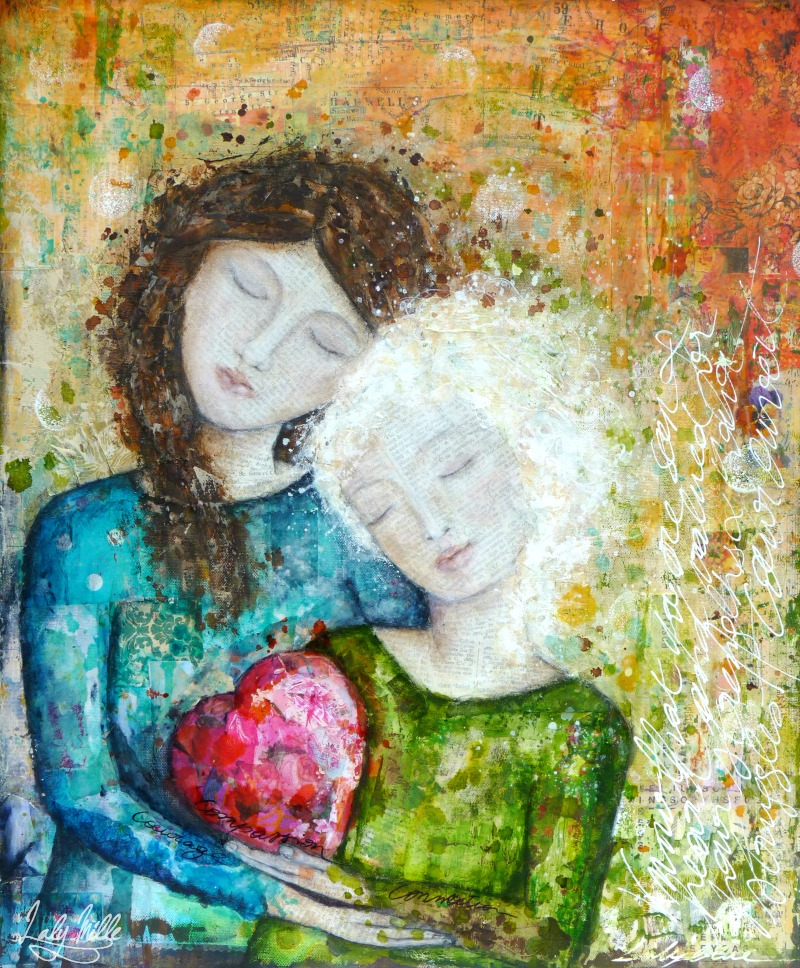 Compassion : mixed media painting by Laly Mille