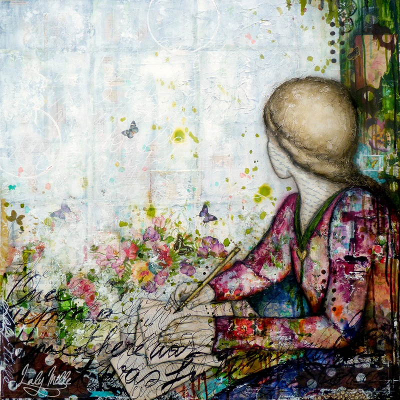 Once upon a time : mixed media painting by Laly Mille