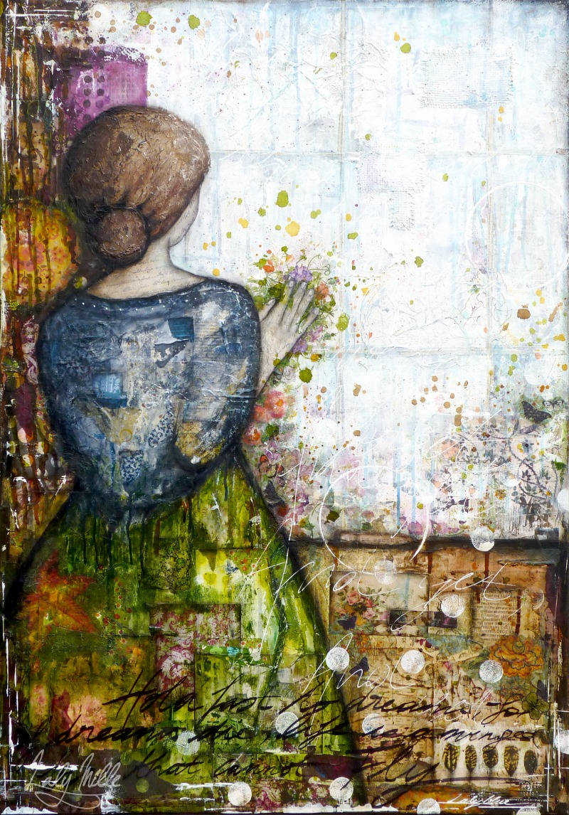 Touch the dream : mixed media painting by Laly Mille
