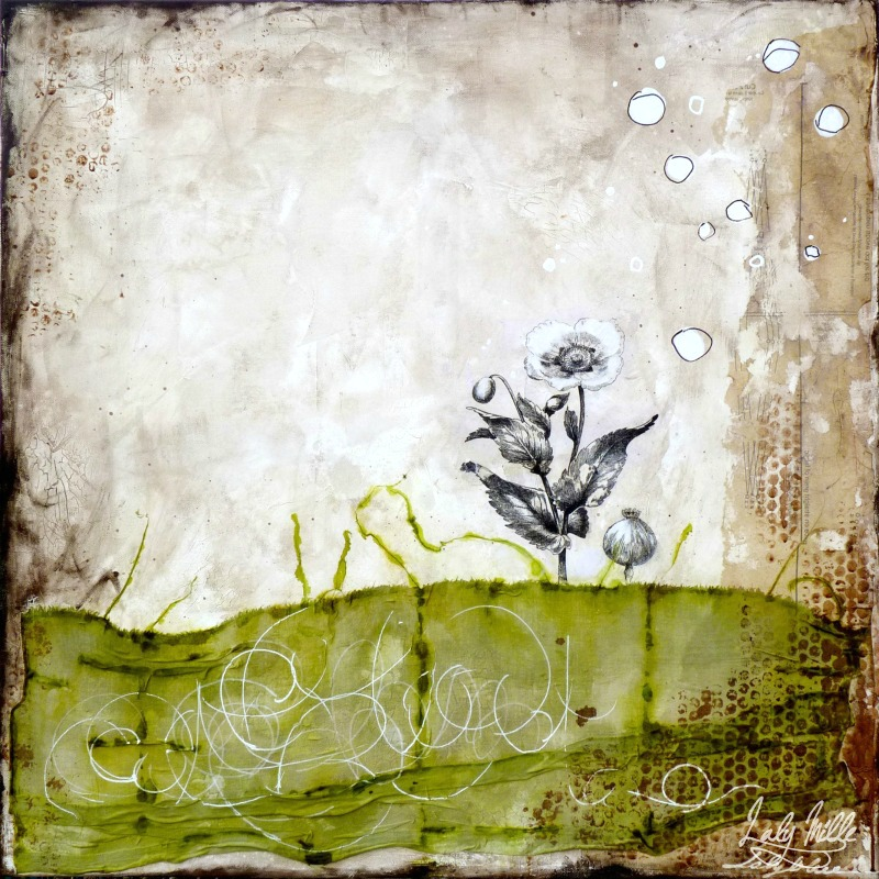 Up up and away : mixed media painting by Laly Mille