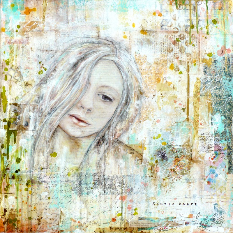 Gentle Heart : mixed media painting by Laly Mille