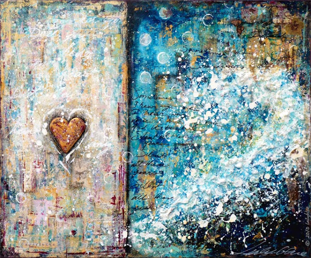 A Mermaid's Heart : mixed media painting by Laly Mille